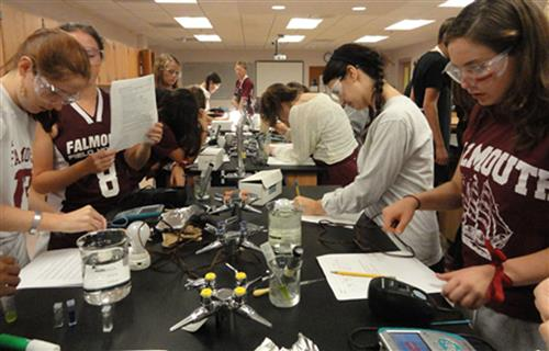 Students working in the science lab.