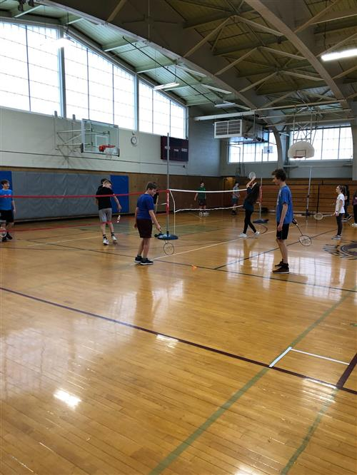 Students playing badminton at Lawrence
