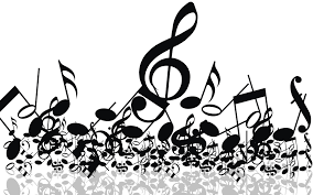 Black and white image with music symbols.