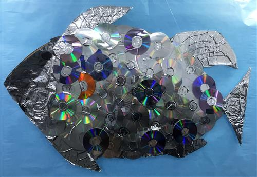 Fish made from compact discs