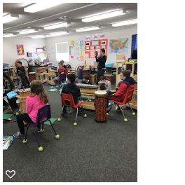 Ms. O'Neil is capturing a wonderful music moment where her students created their own short piece as a team.